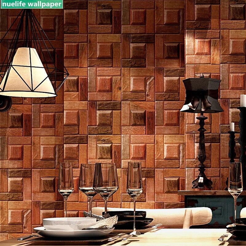 Grain de bois papier peint rétro nostalgique imitation bois écorce bois couleur salon chambre boutique restaurant 3d classique papier peint