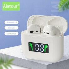 Беспроводные наушники Alatour Bluetooth 5,0, спортивные наушники-вкладыши, гарнитура с микрофоном и зарядным боксом, наушники для всех смартфонов