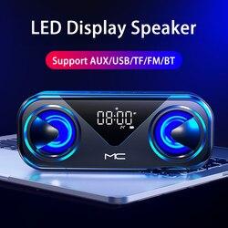 Draagbare Luidsprekers Bluetooth Kolom Draadloze Bluetooth Speaker Krachtige Hoge Boombox Outdoor Bass Hifi Tf Fm Radio Met Led Licht