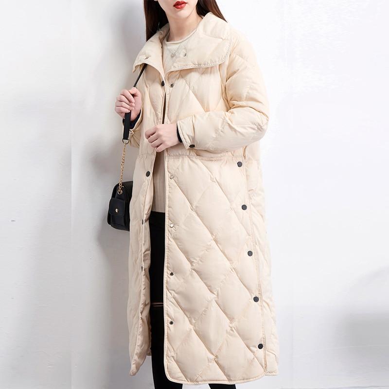 Winter Jacket Women 2019 Winter Women Ultra Light Down Jacket White Duck Down Jackets Long Down Parka Female Solid Coat Outwear