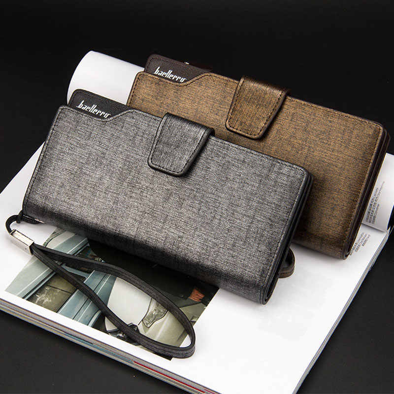 Baellerry hommes portefeuilles Long Style haute qualité porte-carte homme sac à main fermeture éclair grande capacité marque portefeuille en cuir synthétique polyuréthane pour hommes