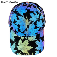 Cool Rainbow Reflective Light Baseball Cap Unisex Maple Leaf Adjustable Hip Hop Rock Hats Snapback Women Men Club Hat Streetwear