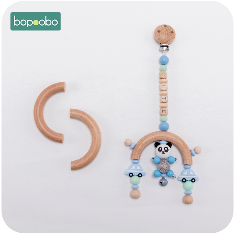 Bopoobo 1pc Three holes Baby Wooden Teether Semi Ring Beech 96mm Wooden Unicorn Teething For <font><b>New</b></font> <font><b>Born</b></font> <font><b>Toys</b></font> Play Gym Diy Teethers image