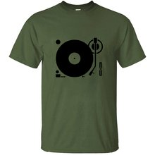 Slogan Headphones Record Disc Platter Disk Dj Play Vinyl Tshirt For Men Cool Gray Fitness Men And Women T Shirts(China)