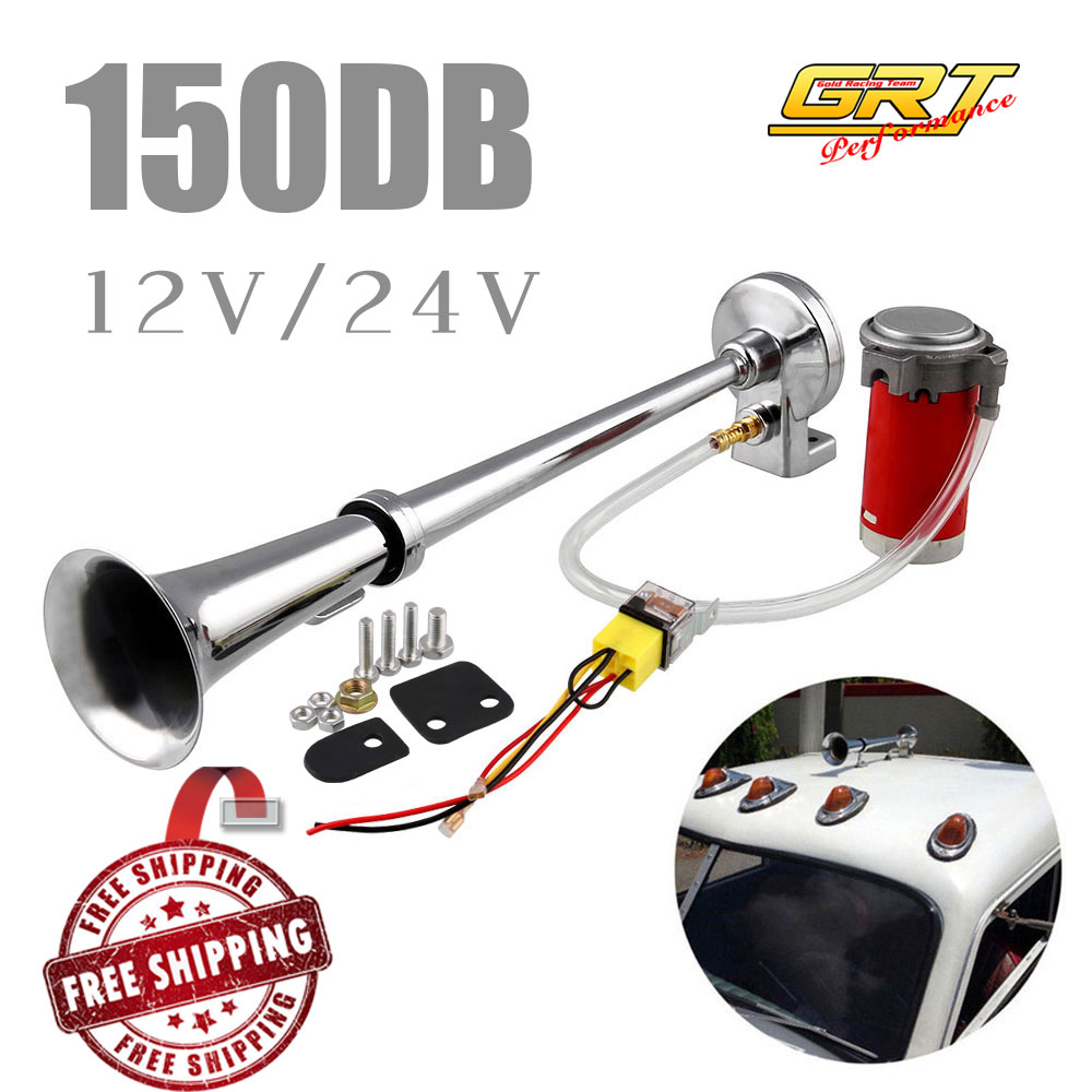 Free shipping 150DB Super Loud 12V/24V Single Trumpet Air Horn Compressor Car Lorry Boat Motorcycle AH015-in Multi-tone & Claxon Horns from Automobiles & Motorcycles