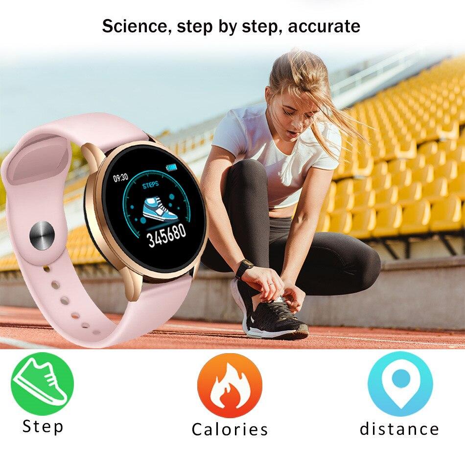 LIGE Fitness Tracker IP67 Waterproof Smart Bracelet Screen heart rate Monitor Pedometer Smart Wristband Sport smart watch Women