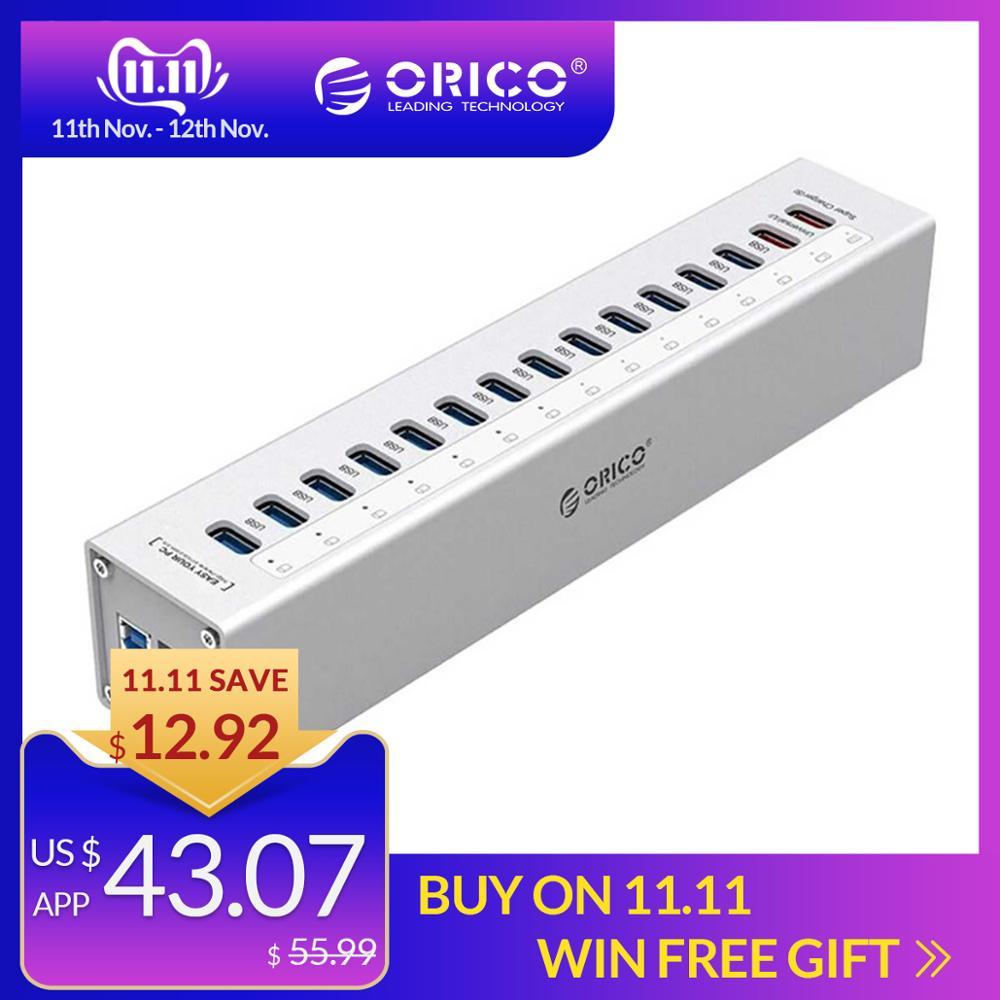 ORICO A3H13P2-SV алюминий 13 портов мульти USB3.0 концентратор сплиттер с 2 зарядными портами 5V2. 4A супер зарядное устройство/5V1A Универсальный Серебрян...