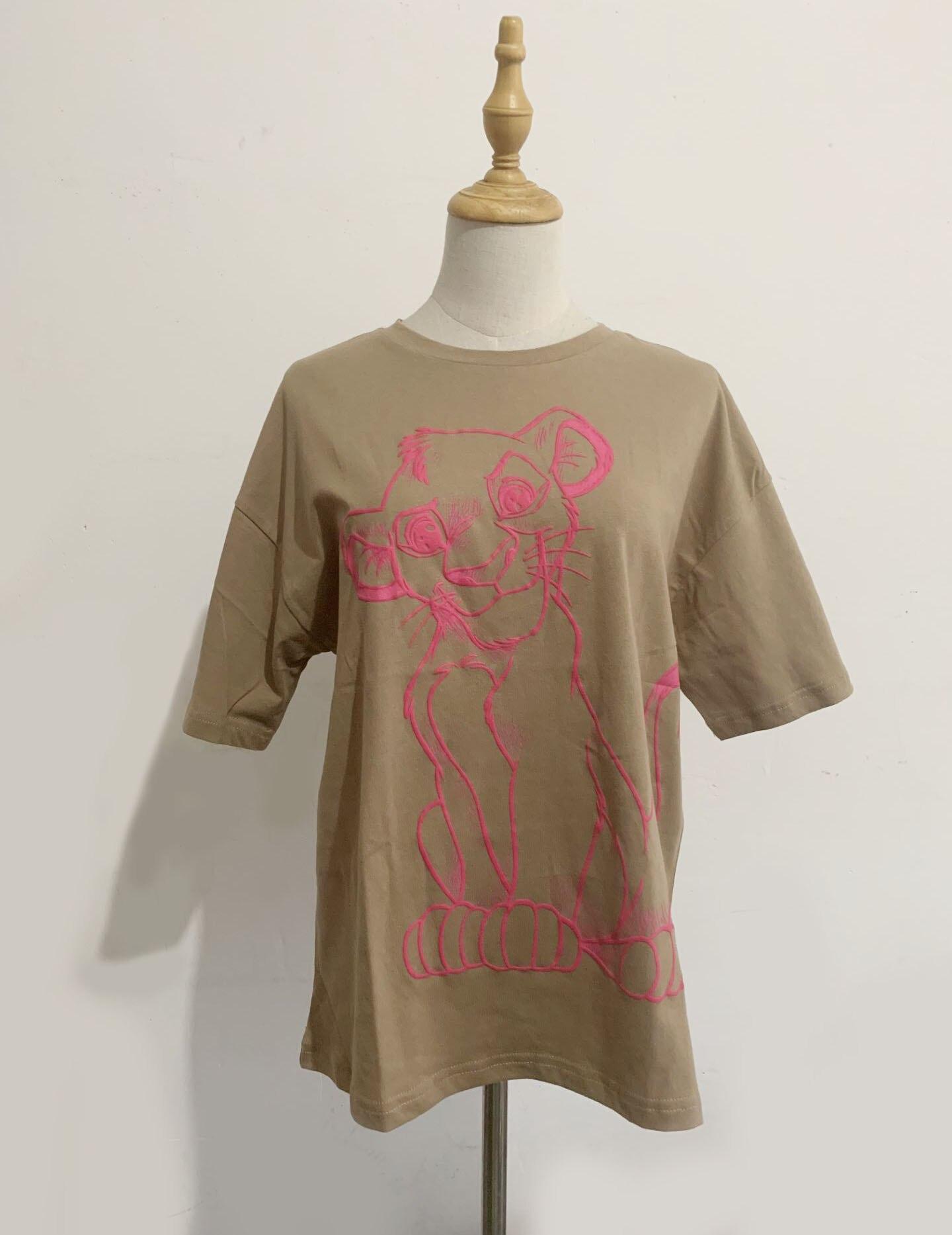 H184192cb7e234bd2a762ac9e2f4bfa8dC Disney Family T-Shirt Fashion Winnie the Pooh Mickey Mouse Stitch Fairy Dumbo SIMBA Cartoon Print Women T-Shirt Cotton Tee s
