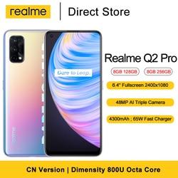 Realme Q2 Pro 5G мобильный телефон 128 ГБ/256 ГБ 8 ГБ Оперативная память 6,4 ''Dimensity 800U Octa Core 48MP сзади Камера 4300 мАч для смартфонов