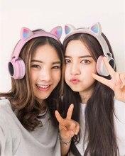 Милый светодиодный Bluetooth 5,0 беспроводные наушники для девочек с кошачьими ушками в сложенном виде, для костюмированной игры с супер басами, гарнитура для музыки с микрофонами