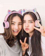 Girl Cute LED Bluetooth 5.0 Wireless Cat Ear Headphones Folded Cosplay cat super bass Gaming Headset For music With Microphones