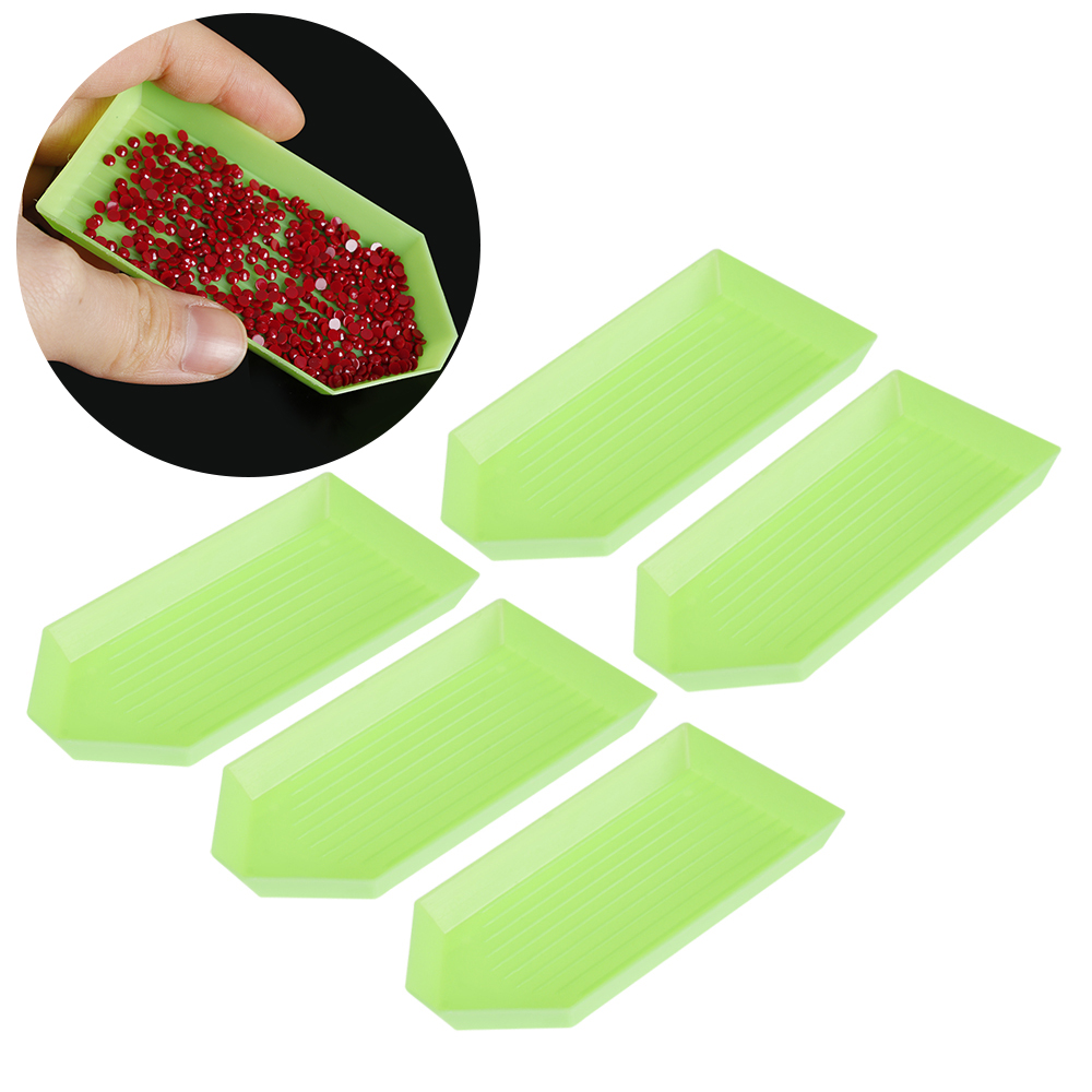 5pcs 5D Acrylic Point Drill Tray Plate Diamond Painting Plastic Embroidery New //