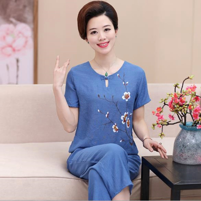 Middle-aged Mother Short-sleeved Suit Female Summer Cotton Linen Pajamas Two-piece Set Women's Home Clothes Out Wear Pijama 4XL