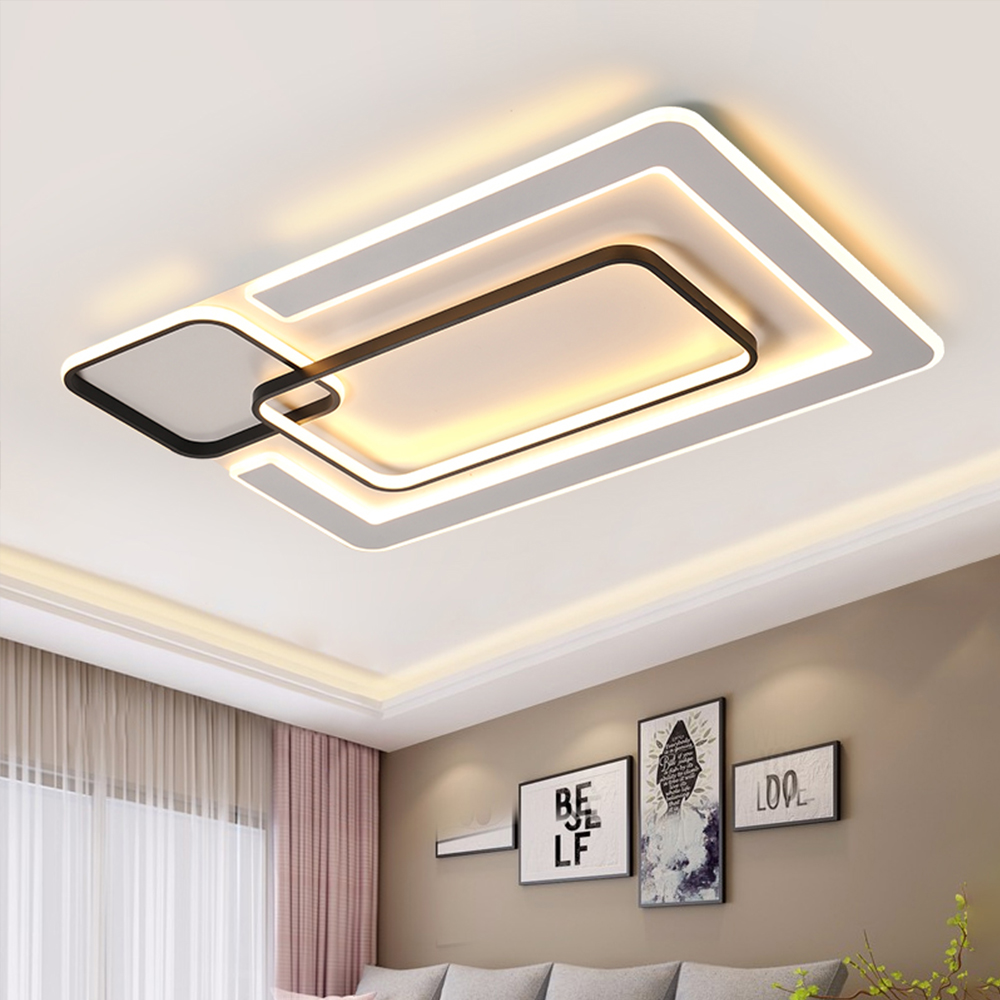 Modern Square Ceiling Chandelier Light Panels With Remote Led Black Metal Ceiling Lighting For Living Room Bedroom Kitchen Loft Chandeliers Aliexpress