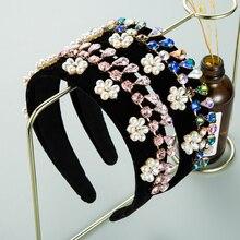 В винтажном стиле, в стиле барокко имитация повязка на голову с жемчужным цветком для женщин; Элегантные блестящие мульти Цвет Хрустальная ...