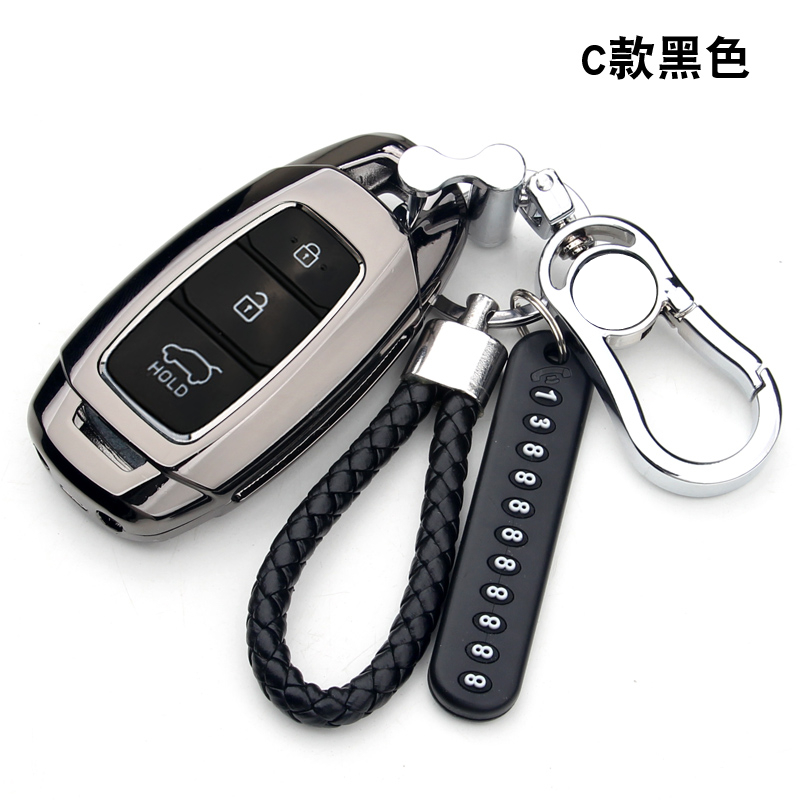 Zinc alloy Car Key Case For Hyundai Santa Fe TM 2019 I30 2018 Solaris Azera Elantra Grandeur Accent Keychain Holder Protector