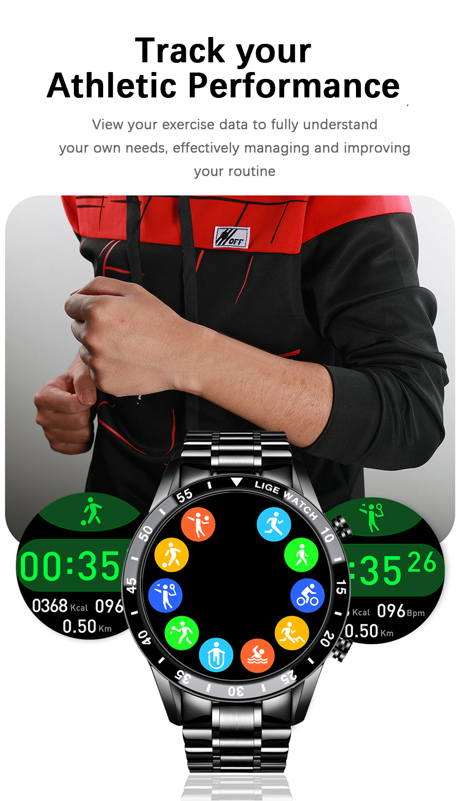 H1841efacc7594d49905b26864b328c47F LIGE 2021 New Men Smart Watch Bluetooth Call Watch IP67 Waterproof Sports Fitness Watch For Android IOS Smart Watch 2021 + Box