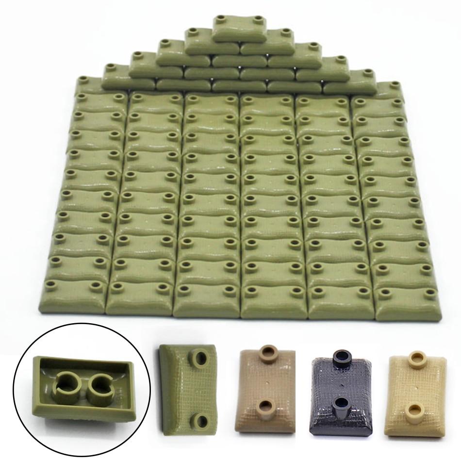 30/50 PCS Military Sandbag DIY Army Scene Parts Compatible WW2 Soldier Figures Weapon Building Blocks Toys For Children