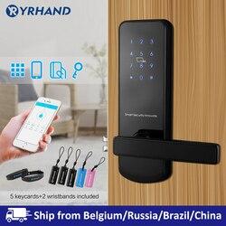 TTlock Bluetooth WiFi смарт электронный дверной замок клавиатура умный дверной замок для дома Airbnb дом квартира с приложением пульт дистанционного уп...