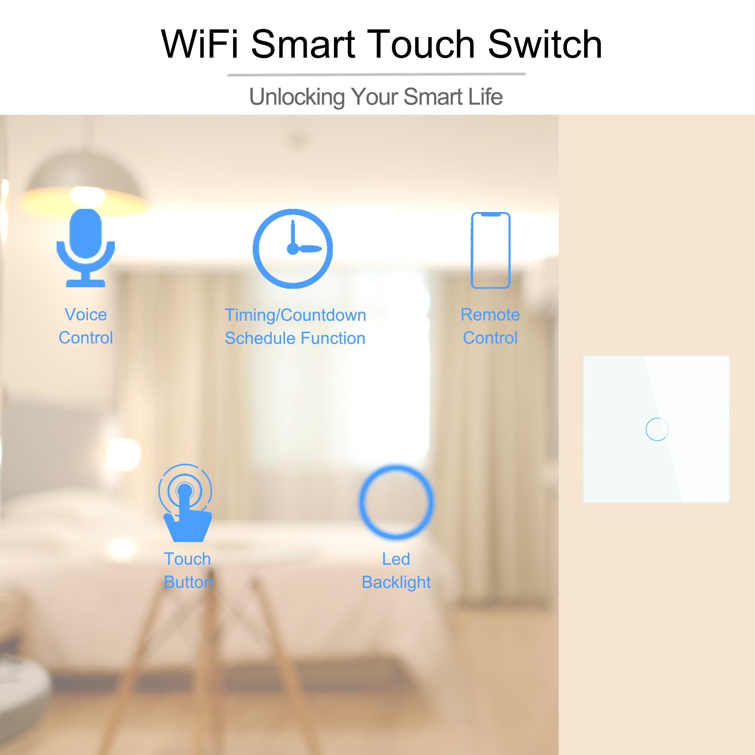 Wifi Wall Touch Switch EU No Neutral Wire Required Smart Light Switch 1 2 3 Gang 220V Tuya Smart Home Support Alexa Google Home 2