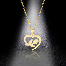 Hot Sale Stainless Steel Love Rose Necklace Rose Heart Pendant Fashion Clavicle Chain Spot Wholesale семена rose heart 988
