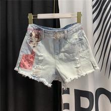 цены Denim Shorts Women's Holes Stickers Denim Hot Pants Summer Clothes New High Waist Light Color Hot Pants Fashion Jean Shorts
