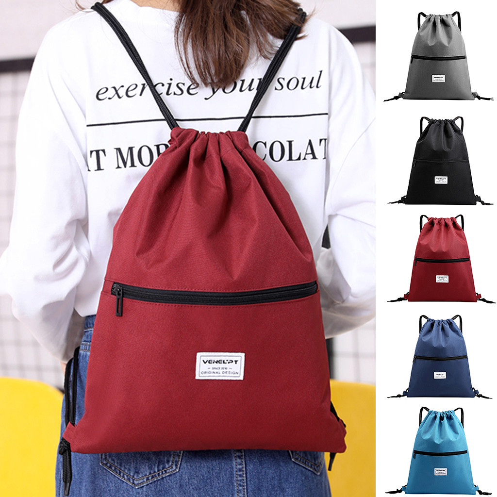 Zipper Drawstring Harness Pocket Fashion Unisex Bag School Bag Waterproof Bundle Rope Backpack Travel Sport Bag Dropship T827
