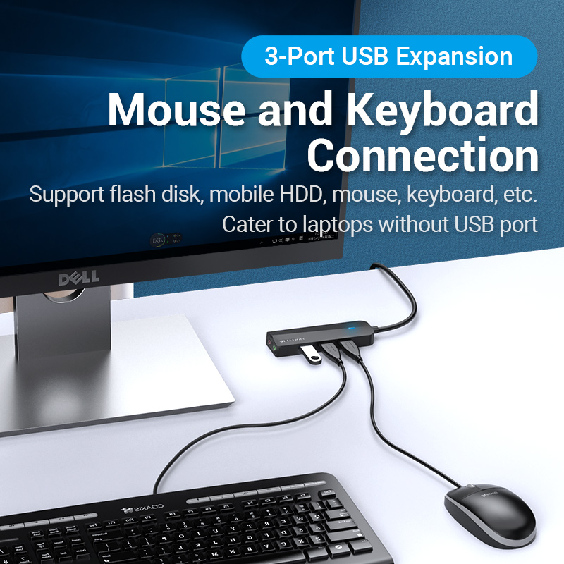 Vention USB 3.0 Hub 3 Ports USB Sound Card 2 in 1 External Stereo Audio Adapter 3.5mm with Headphone Microphone USB Sound Card 3