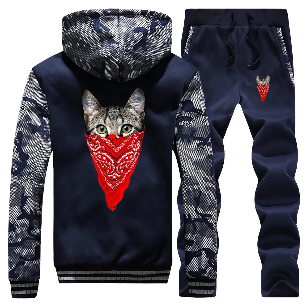 Fashion Mens Animal Camo Fleece Hoodies Pant Sets Funny The Masked Cat Knight Cat Sweatshirt Men Casual Sportswear Tracksuit