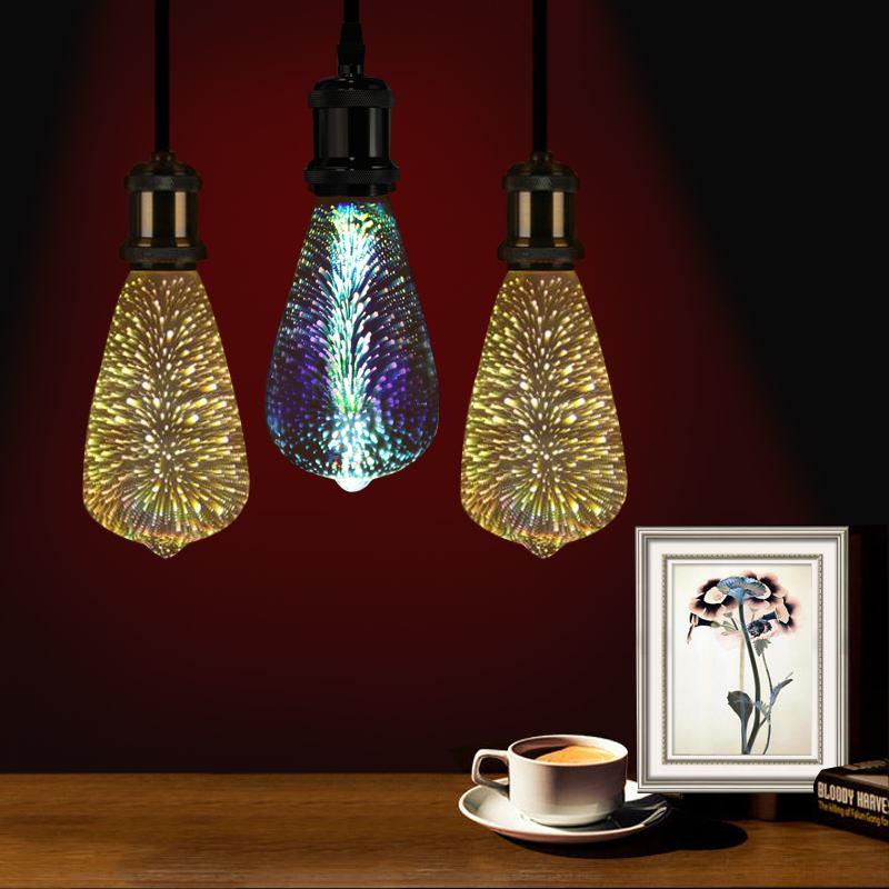 3D Fireworks E27 G95 LED Simply Retro Decor Glass Colorful Pendant Light Bulb Hang Lamp Bulb Romantic Decor AC85-265V 4W