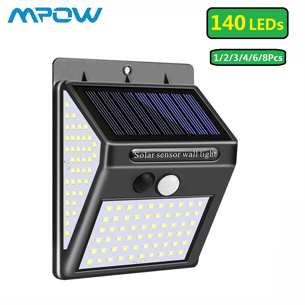 140 LED Solar Light Outdoor PIR Motion Sensor IP65 Waterproof Solar Powered Lamp 270° Wide Angle& 25 Hrs Lighting Emergency Lamp