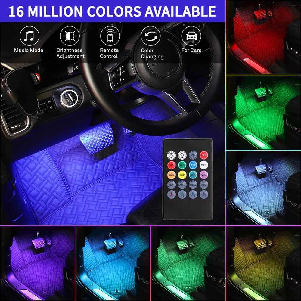 4pcs APP LED Car Interior Light Neon Atmosphere Ambient Lamp Bulb Accessories
