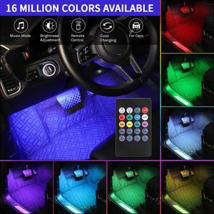 Image 5 - Lâmpada led luz ambiente interno automotiva, luz de pé, controle remoto, usb, cigarro, entrada usb, decorativa, acessórios