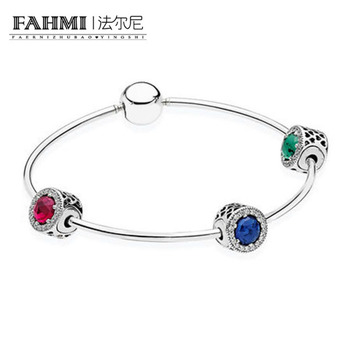2020 100% 925 E Serie Sterling Silver Sterling Silver Zircon Radiation Charm Bracelet Suit for Ladies Gift Jewelry Factory