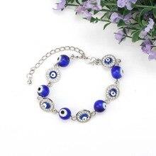 Голубые зеркальные стеклянные бусины, браслет для женщин и мужчин, турецкий молитвенный браслет, подарок, амулет на удачу