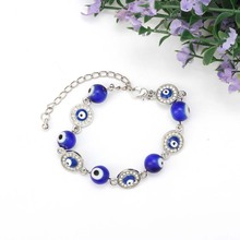 Blauw Evil Lucky Eyes Glazen Kralen Armband Voor Vrouwen Mannen Sieraden Hoefijzer Turkse Gebed Strand Armband Gift Lucky goederen Amulet