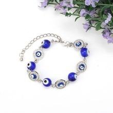 Bleu mauvais yeux chanceux perles de verre Bracelet pour femmes hommes bijoux fer à cheval turc prière brin Bracelet cadeau biens chanceux amulette