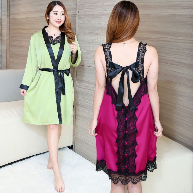 2019 Summer Wear New Style Large GIRL'S Lace Tracksuit Piece Sexy Fashion Pajamas Suit Nightgown 0471 H