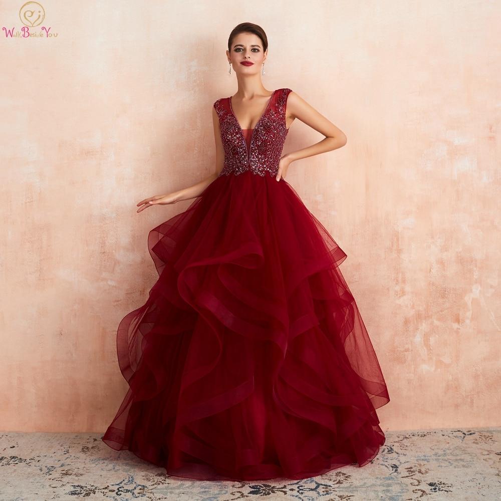 Beading Burgundy Prom Dresses Long 2019 Ruffles Sheer Neck Ball Gown Sleeveless Tulle Vestido Debutante Longo Women Evening Gown