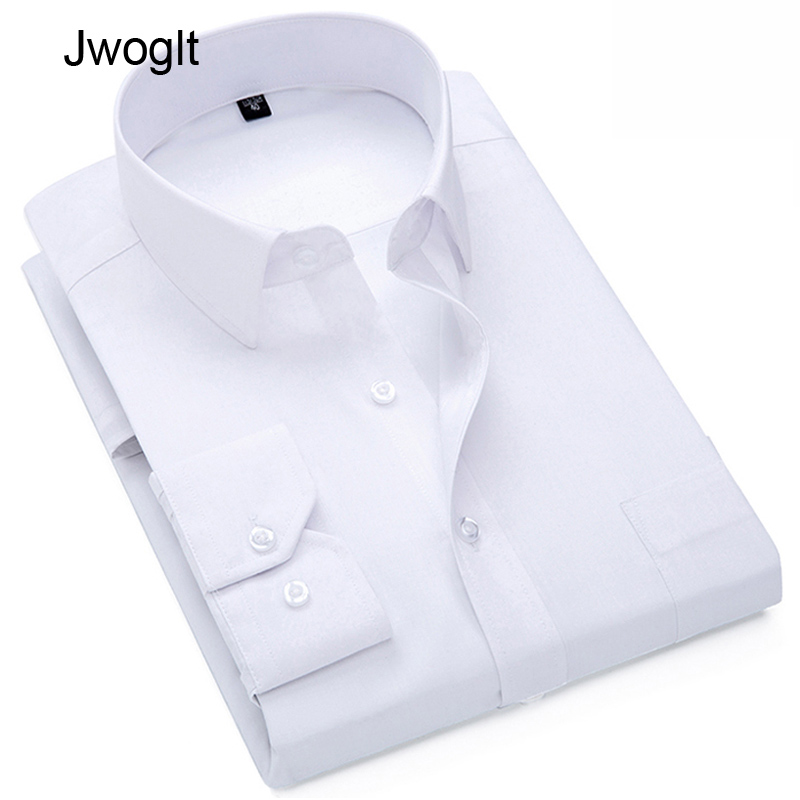 Mens Long Sleeve White Dress Shirt With Left Chest Pocket Cotton Male Casual Regular-Fit Blouse Button Down Formal Shirts