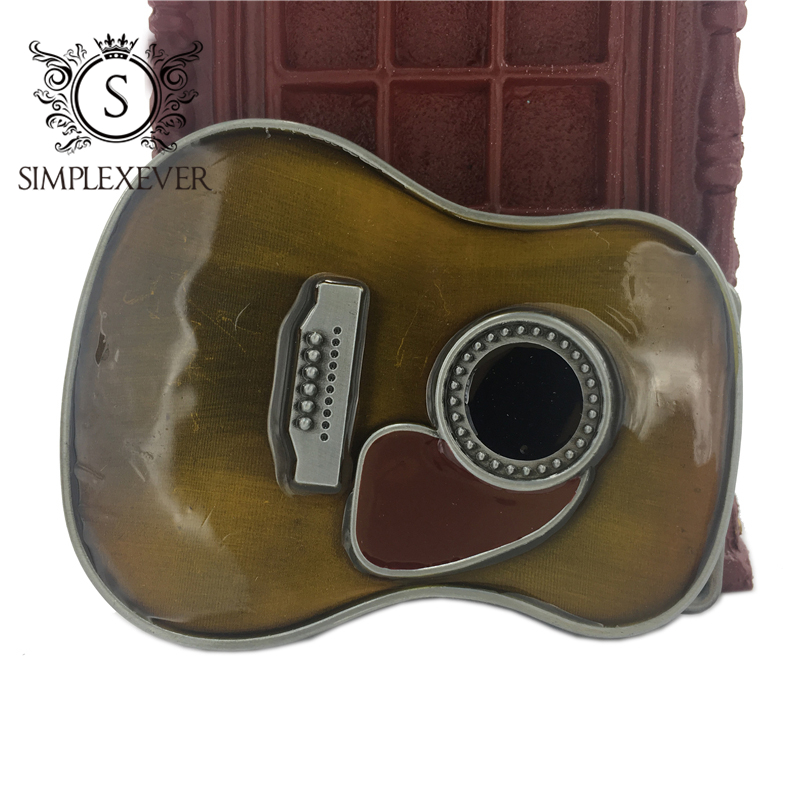 Guitar Belt Buckle Metal Pin Belt Buckles Head Man Woman Belt Jewelry Accessories For 4cm Wide Belt