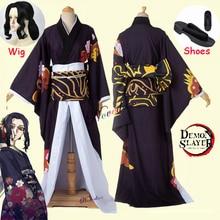 Anime Demon Slayer Kimetsu no Yaiba Cosplay Costumes Kibutsuji Muzan Cosplay Costume Women Kimono Uniforms Clothes Dresses Wig