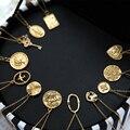 925 prata esterlina ouro moeda elíptica pingente colar inglês carta gravura do vintage personalidade 18 k colar de corrente de ouro