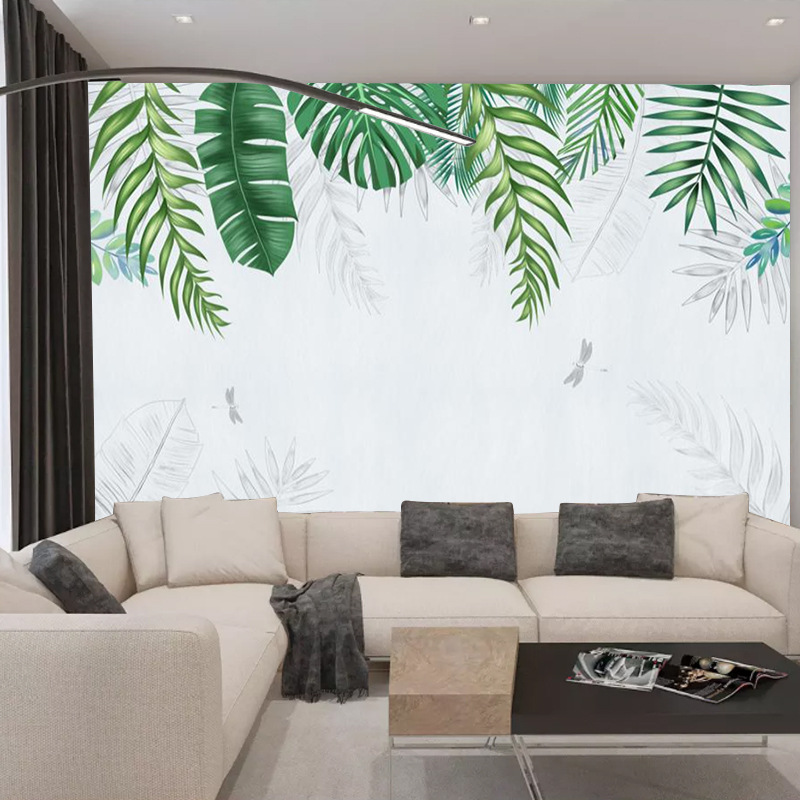 Northern European-Style Hand-Painted Wallpaper Creative Torrid Zone Plant Wallpaper Customizable Living Room Bedroom TV Backdrop
