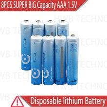 8 pacotes de baterias aaa de grande capacidade, super lítio 1.5v de qualidade, 5 anos de garantia, frete grátis