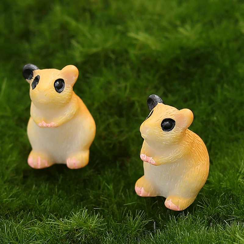Taman Patung Hewan untuk Mini Fairy Miniatur Dekorasi Similation Resin Kerajinan Rumah Mobil Dekorasi Hamster Figurine