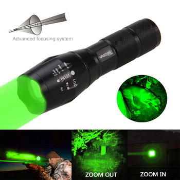 New A100 Tactical 1000 Lumen Q5 Green/Red T6 White Led Hunting Flashlight Zoomable 350 yard Coyote Hog Predator Weapon Gun Light a100 zoomable 1000lm hunting flashlight police tactical xml t6 white led 5modes flashlight hunting torch