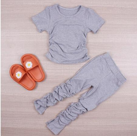 Kids Set Open Back Hooded Puff Sleeve Tops Stacked Slit Pants Suit Active Wear Tracksuit Two Piece Set Fitness Outfit girls 5