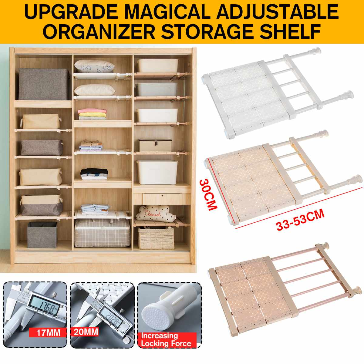 30CM Width Adjustable Closet Organizer Storage Shelf Wall Mounted Kitchen Rack Space Saving Wardrobe Shelves Cabinet Holders