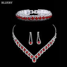 BLIJERY posrebrzane czerwone kryształowe zestawy biżuterii ślubnej Rhinestone dla Choker damski kolczyki bransoletka zestaw biżuterii ślubnej tanie tanio Ze stopu cynku Kobiety TRENDY Necklace Earrings Bracelet Set Zestawy biżuterii dla nowożeńców Moda 0174J01+0053B06 Ślub